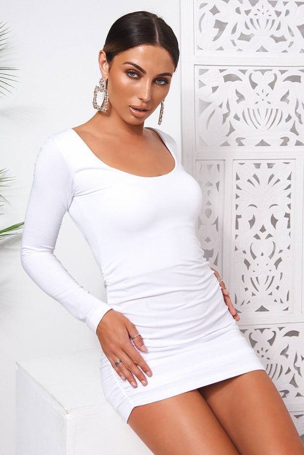 Revi White Backless Ruched Mini Dress