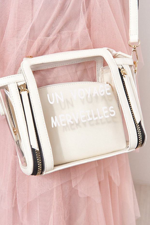 White Perspex Slogan Bag