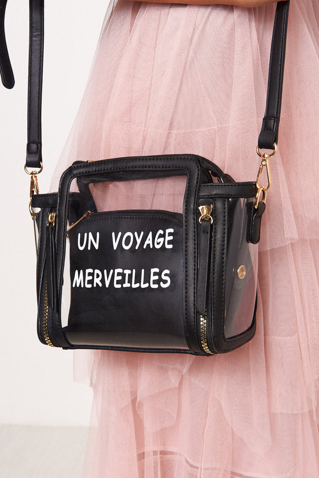 Black Perspex Slogan Bag