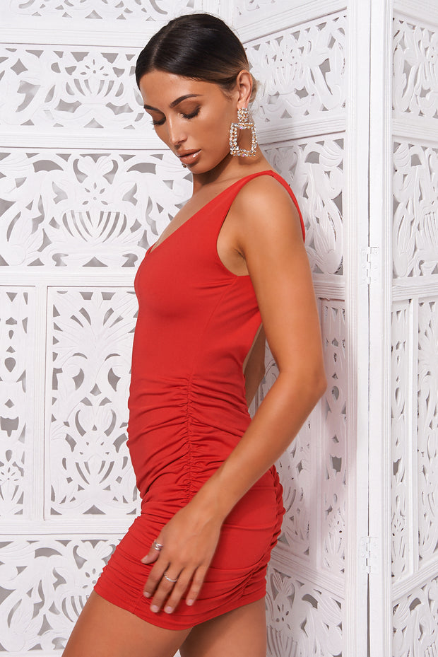 Diablo Red Backless Ruched Bodycon Dress