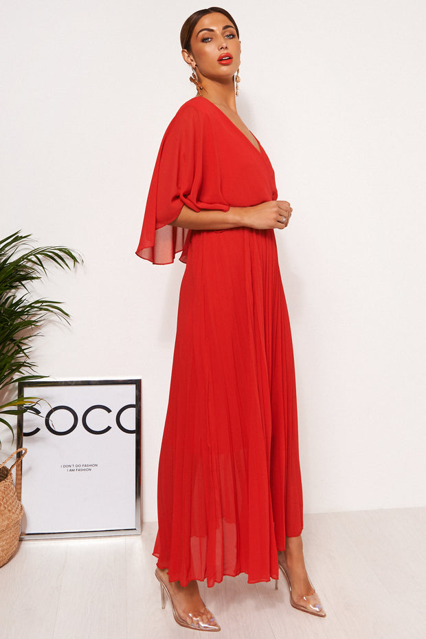 Tama Red Open Back Maxi Dress