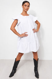 Monet White Frill Smock Dress