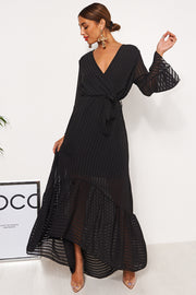 Coco Black Wrap Front Maxi Dress