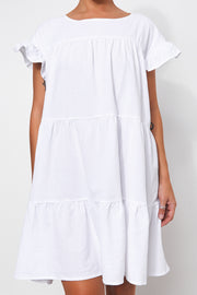Monet White Linen Smock Dress