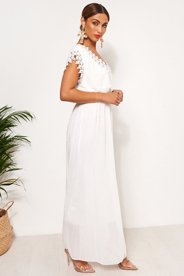White Crochet Maxi Dress
