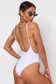 Kia White Backless Swimsuit