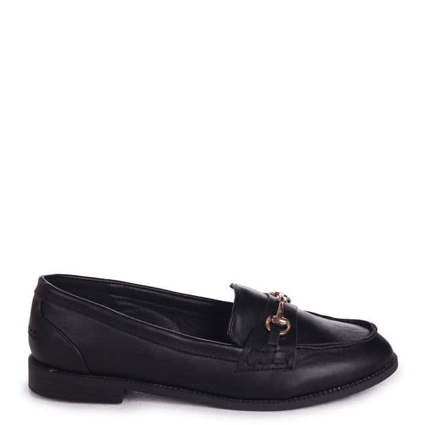ROSETTA - Black Nappa Slip On Loafer With Gold Bar Front Detail