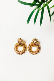 Gold Ridged Chunky Earrings