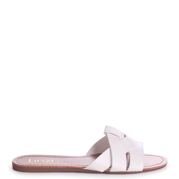 REGINA - White Nappa Slip On Slider With Woven Front Strap
