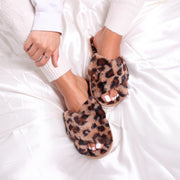 FREE - Brown Leopard Print Fluffy Crossover Slippers
