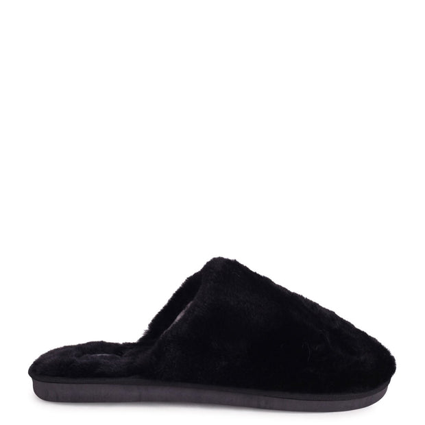 ZERO - Black Fluffy Closed Toe Slippers