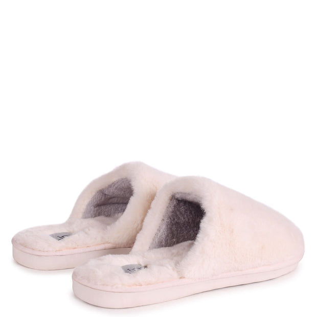 ZERO - Cream Fluffy Closed Toe Slippers
