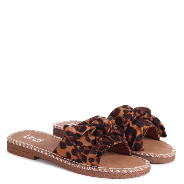 DETROIT - Leopard Print Suede Slip On Slider With Large Bow Front Strap