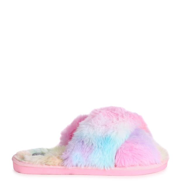 CLOUD - Tie Dye Fluffy Crossover Slippers
