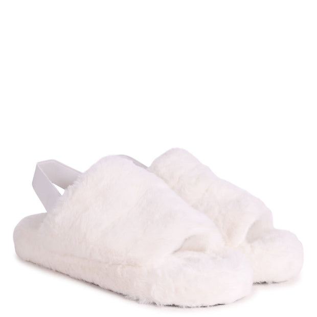 COMFY - White Fluffy Slingback Slippers With Platform Sole
