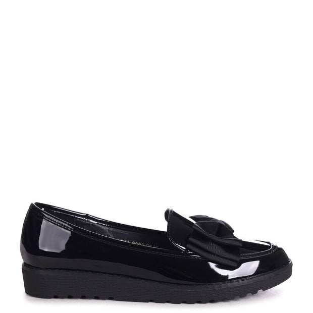 CATHY - Black Patent Classic Slip On Loafer With Fabric Bow Detail