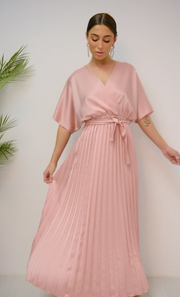 Nude Pink Cape Sleeve Satin Maxi Dress