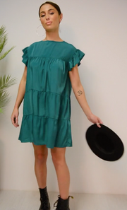 Luca Green Frill Smock Dress