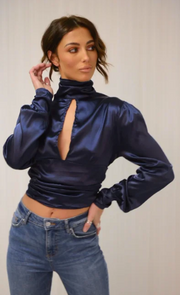 Blue Satin High Neck Blouse