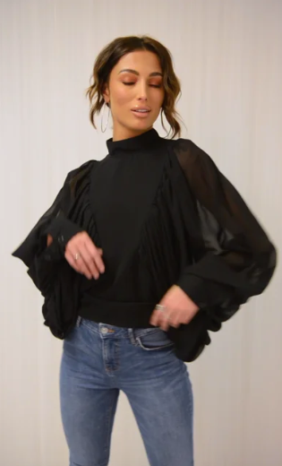 Black Chiffon Angel Sleeve Blouse