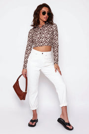 Brown Daisy Cropped Shirt