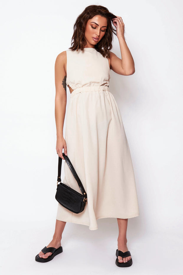 Lori Beige Strap Back Midi Dress
