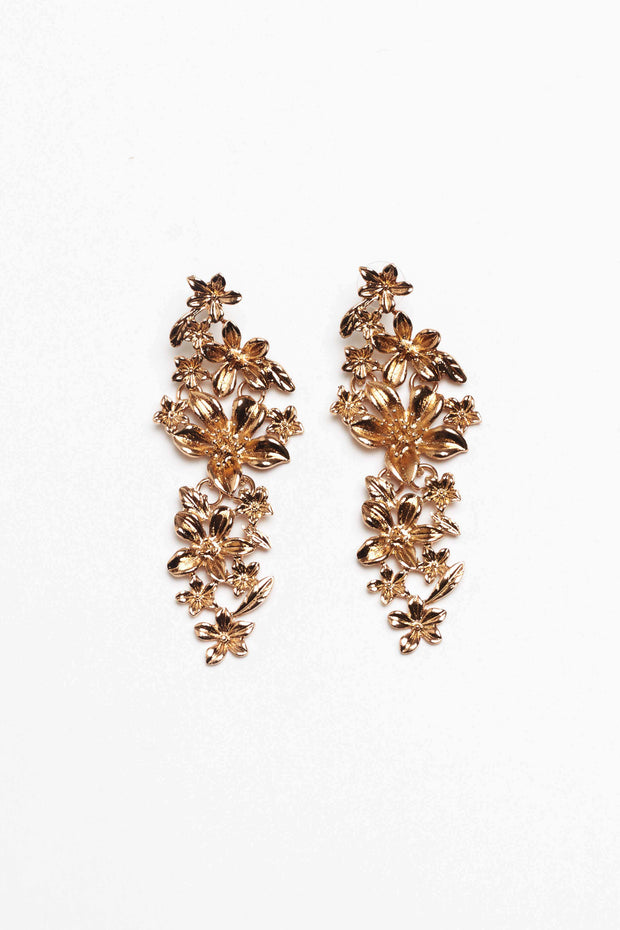 Kina Gold Floral Statement Earrings