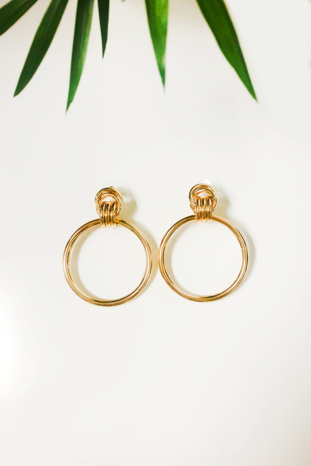 Delta Twist Gold Hoop Earrings