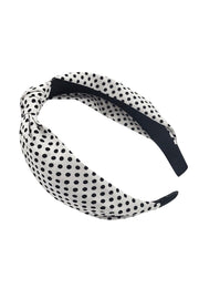White Polka Dot Knot Headband