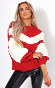Red Faux Fur Sweatshirt