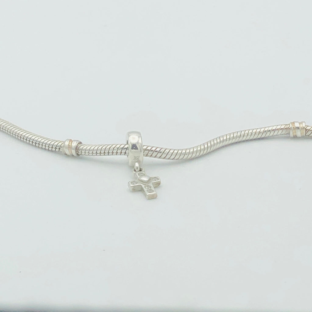 PANDORA Cross Dangle Sterling Silver with Clear CZ Charm #790355CZ Retired