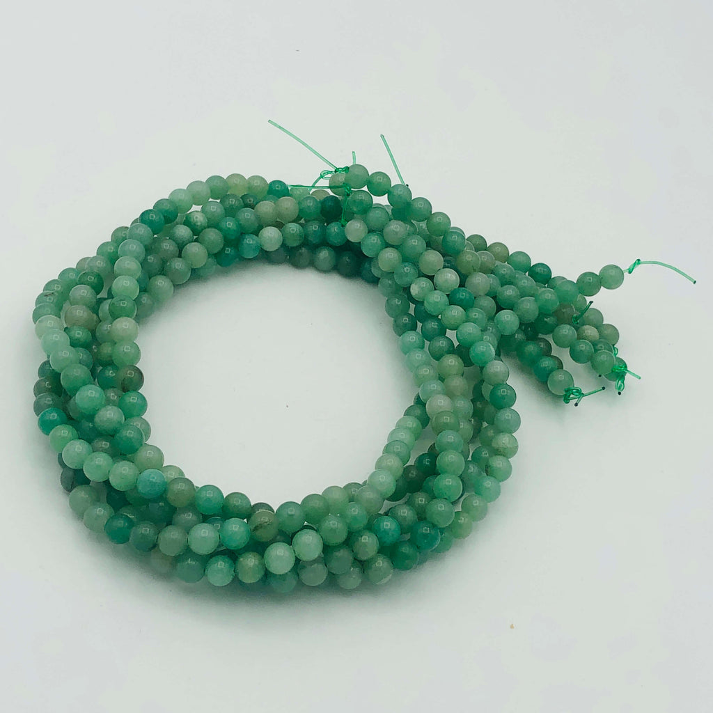 "GREEN natural AVENTURINE 6mm or 8mm Round Stranded BEADS  15 1/2"" to 16"" Long"