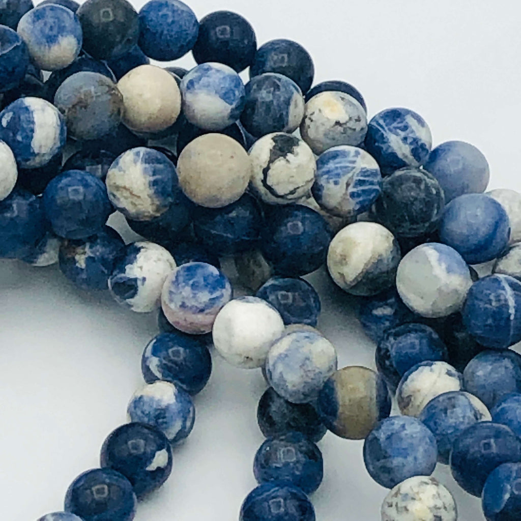 "Blue natural SODALITE 6mm or 8mm Round Stranded BEADS 15 1/2"" to 16"" Long"