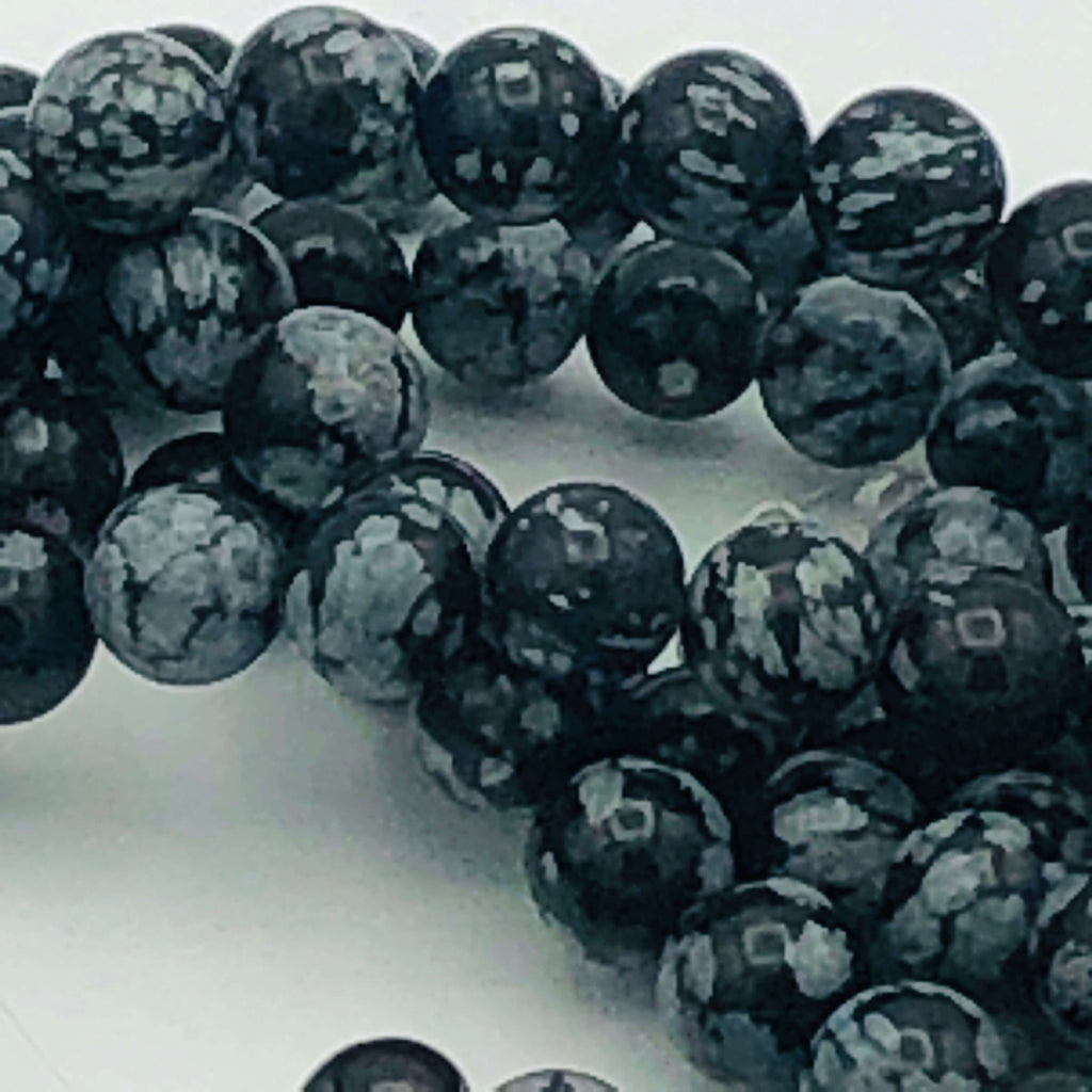 "SNOWFLAKE OBSIDIAN 4mm or 8mm Round Stranded BEADS  15 1/2"" to 16"" Long"