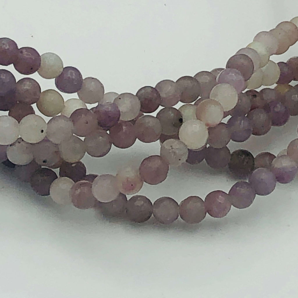 "LILAC STONE Natural 4, 6 or 8mm Round Stranded BEADS 15 1/2"" to 16"" Long"
