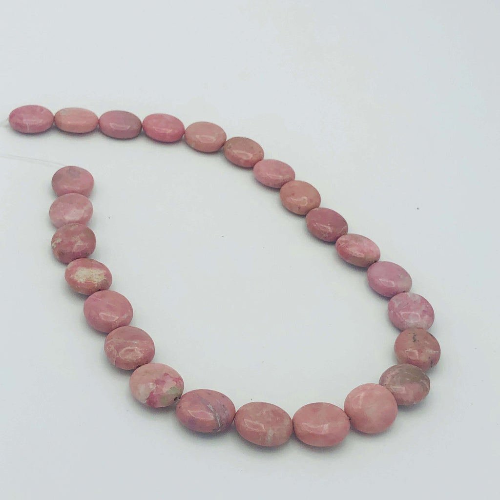 "RHODONITE Natural Dark 13x16mm Flat Oval Stranded BEADS 8"" Long"