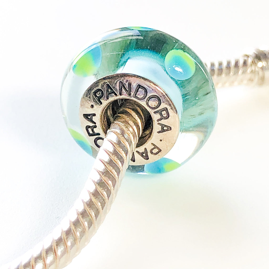 PANDORA Teal Polka Dots MURANO Glass CHARM Bead #790605 Sterling Silver Retired