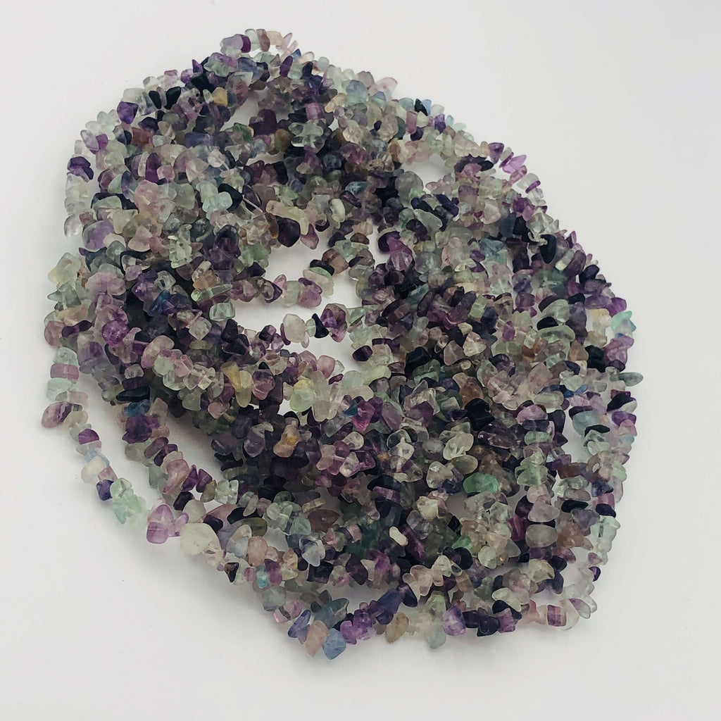 "Rainbow FLUORITE Natural Shape Stranded BEADS Medium Chip Size 36"" Long"