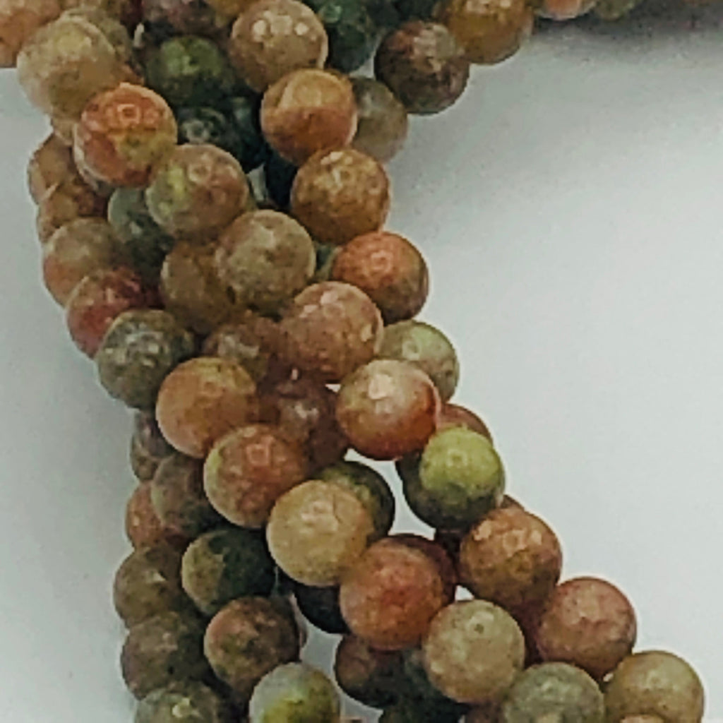 "GREEN natural UNAKITE 4mm or 8mm Round Stranded BEADS 15 1/2"" to 16"" Long"