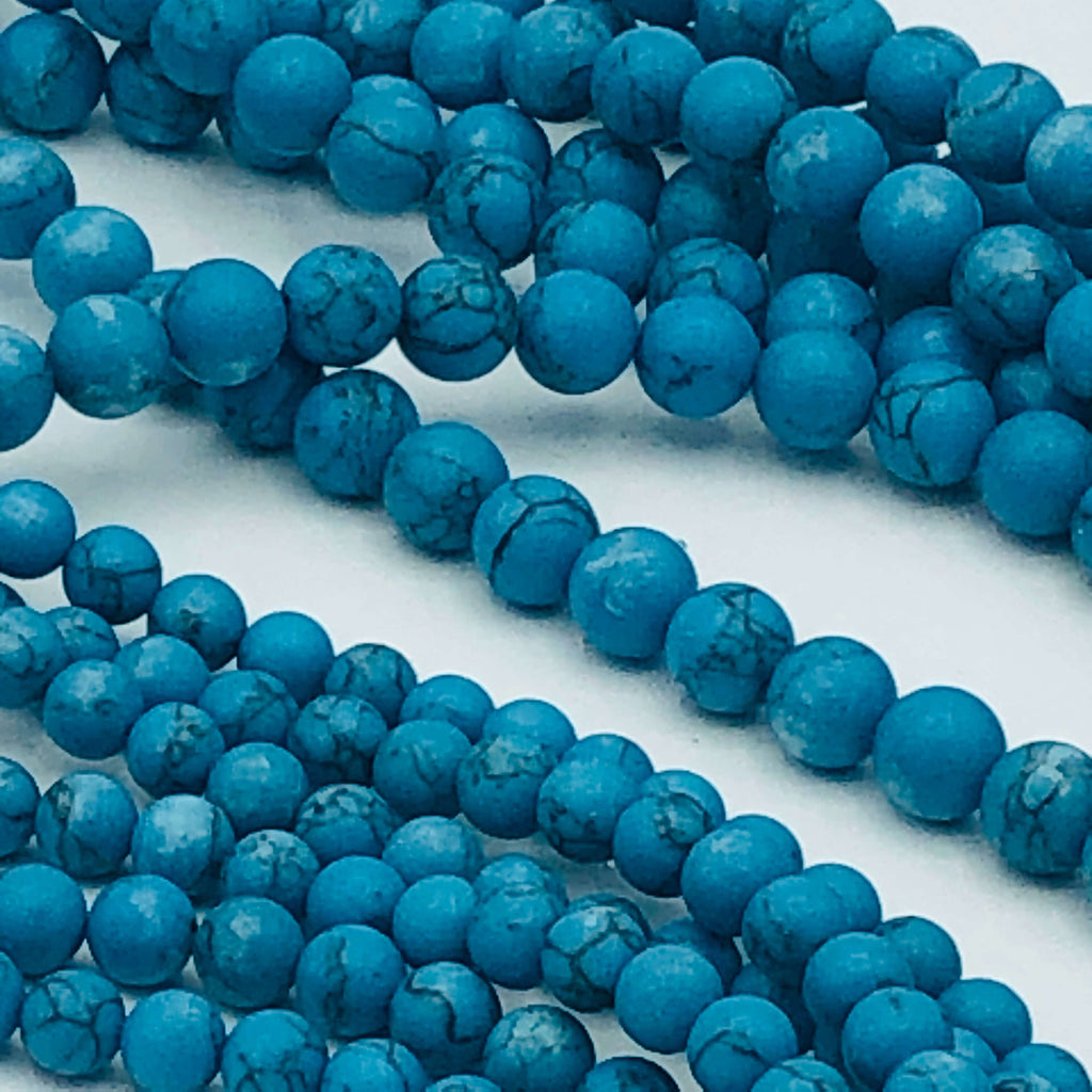 "TURQUOISE Resin Imitation 6mm or 8mm Round Stranded BEADS  15 1/2"" to 16"" Long"