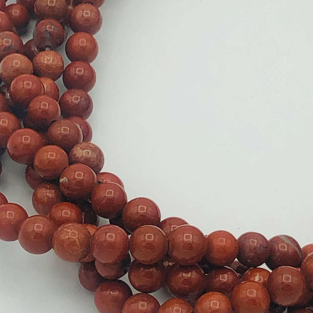 "RED JASPER Natural 6mm Round Stranded BEADS 15 1/2"" to 16"" Long"