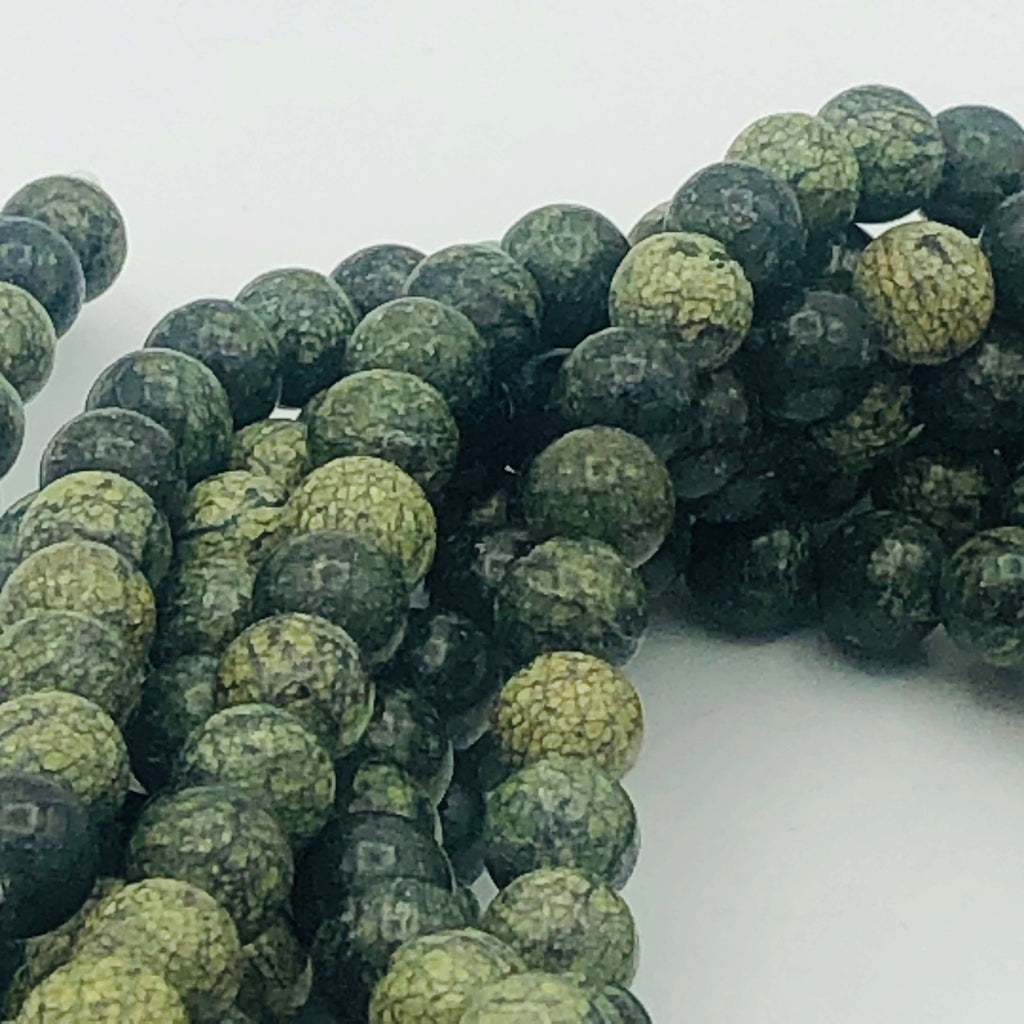 "GREEN natural SERPENTINE 4mm or 8mm Round Stranded BEADS 15 1/2"" to 16"" Long"