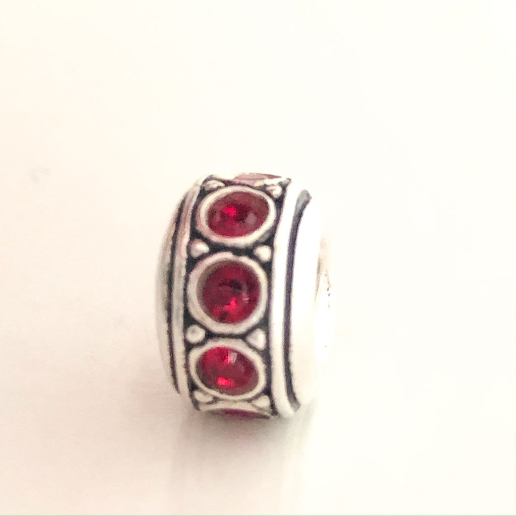 CHAMILIA Wheel July Birthstone Sterling Silver Ruby Red Cubic Zirconia CHARM Bead I-55