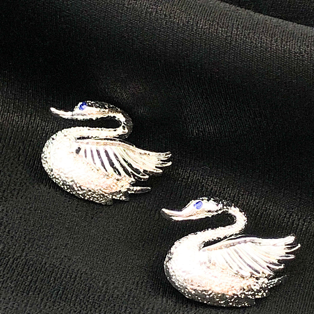 Vintage GERRY'S Silver Tone Duet Swan Brooches With Blue Rhinestone Eyes