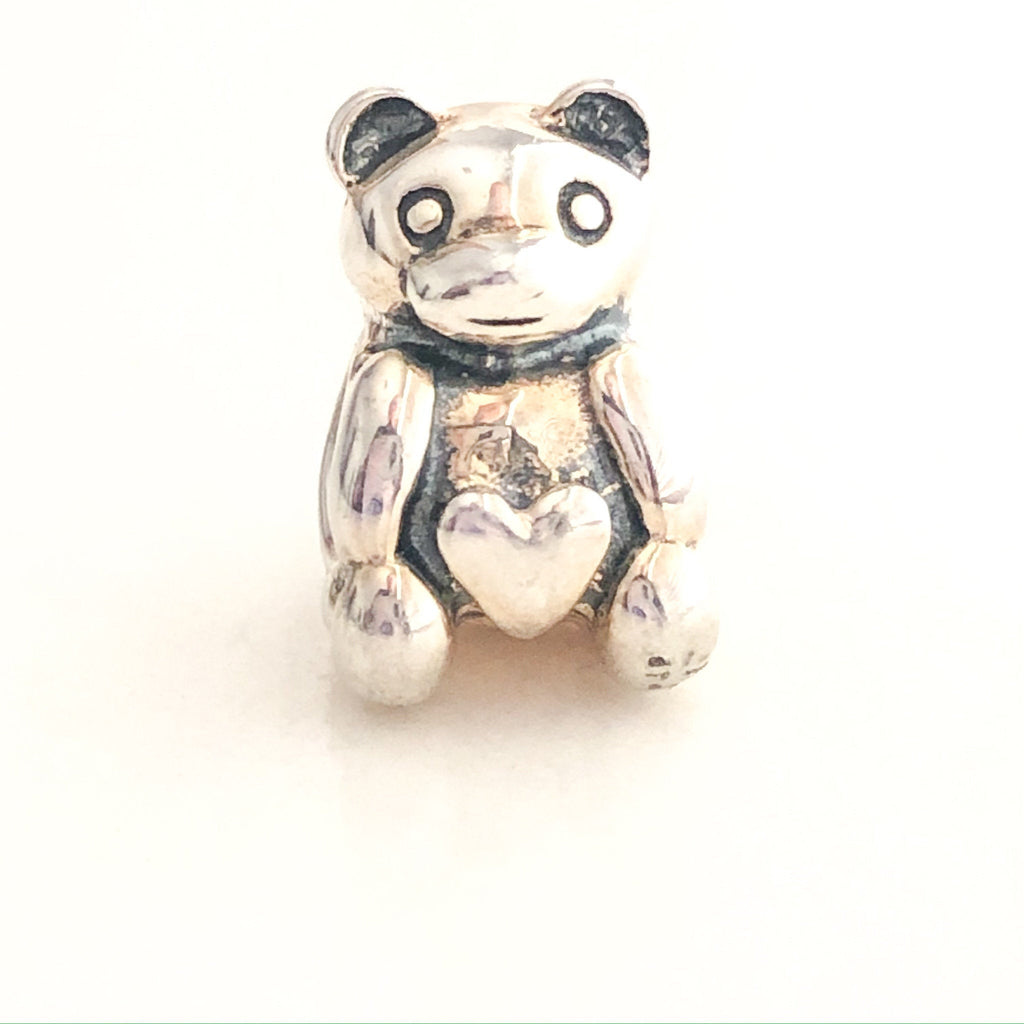 CHAMILIA Teddy Bear With Heart Belly Sterling Silver Charm Bead - Retired