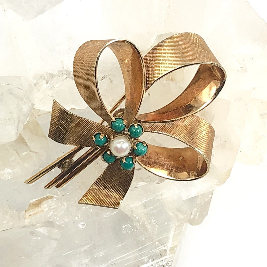Vintage WINARD 12K Gold Filled Ribbon Brooch With Blue Beads And Pearl