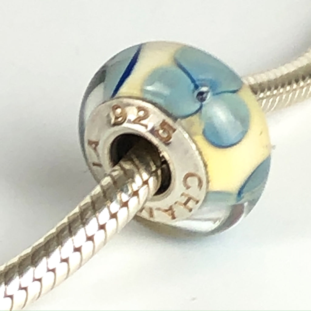 CHAMILIA White & Blue Flowers Sterling Silver Murano Glass Charm Bead