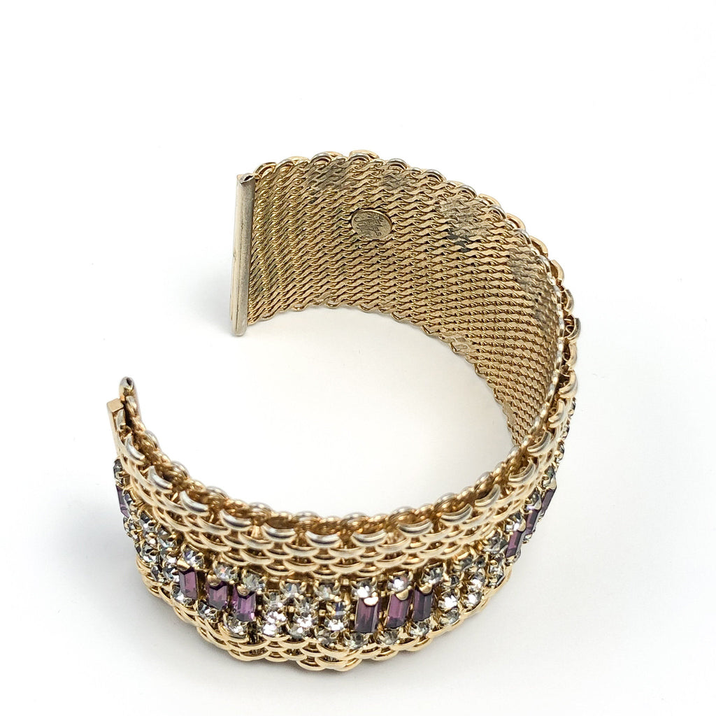 "Jewels By Julio Designer Signed Vintage Gold Tone Statement Cuff Bracelet With Purple Baguette and White Crystals 7"" circumference"