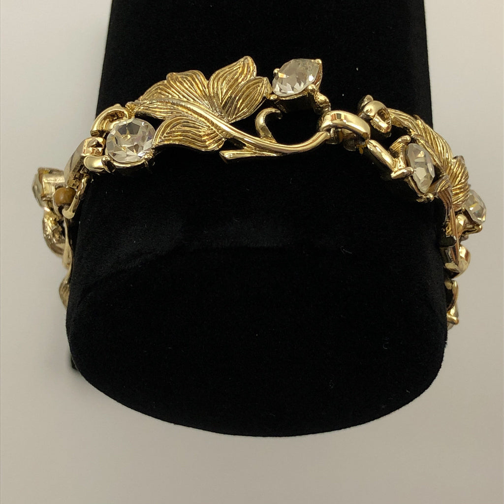 "Coro 1950's Vintage Gold Tone Bracelet With Rhinestones and Leaves 7"" long"