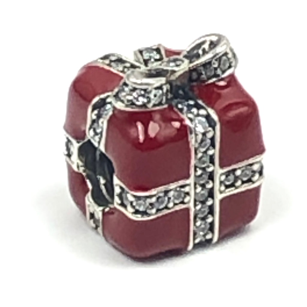 Pandora Sparkling Surprise Present Charm S925 ALE Sterling Silver With Red Enamel and Clear Zirconia - 791772CZ Retired